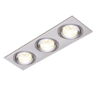 Oczko sufitowe Tetra Triple - Saxby Lighting - srebrne