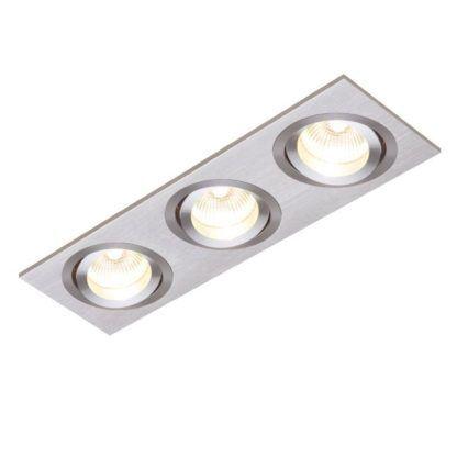 Oczko sufitowe Tetra Triple - Saxby Lighting - srebrne