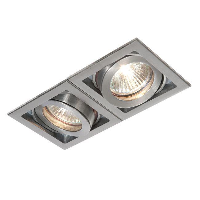 Oczko sufitowe Xeno Twin - Saxby Lighting - srebrne
