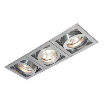Oczko sufitowe Xeno Triple - Saxby Lighting - srebrne
