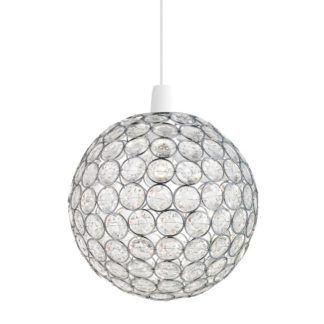 Okrągła lampa wisząca Oakley - Endon Lighting - srebrna, kryształki
