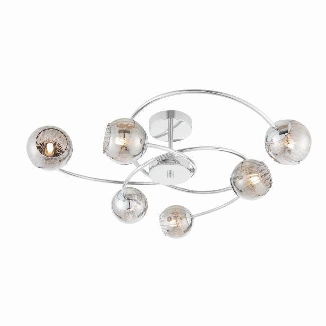 nowoczesny żyrandol ze srebrnymi ramionami i kloszami ze szkła