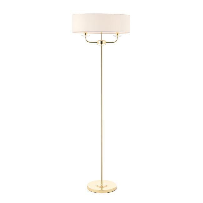 Oryginalna lampa podłogowa Nixon - Endon Lighting - biała, złota
