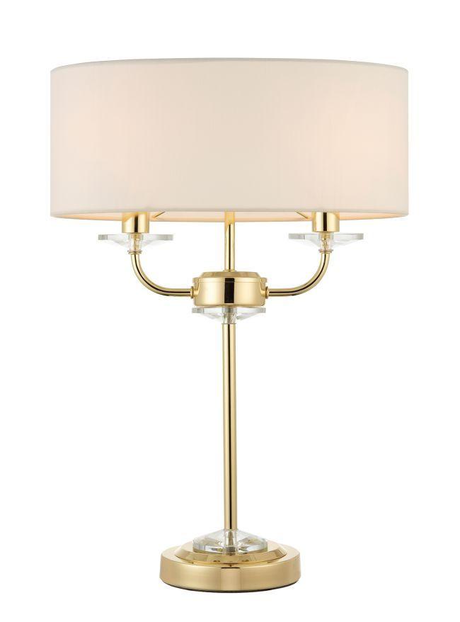 złota lampa stołowa biały abażur