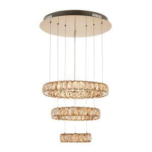 nowoczesna lampa wisząca, trzy kryształowe pierścienie, beż odcień szampański
