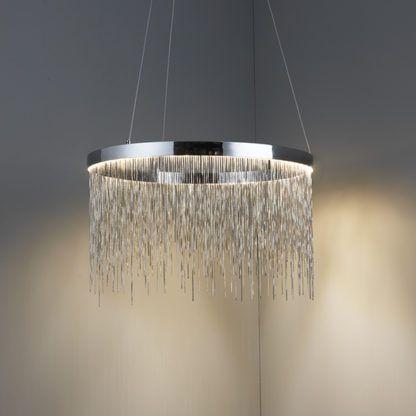 nowoczesna lampa wisząca LED w kolorze srebrnym