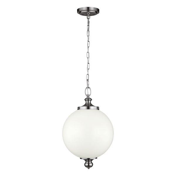 lampa wisząca w stylu klasycznym, rustykalnym, biała kula z mlecznego szkła i srebrne detale
