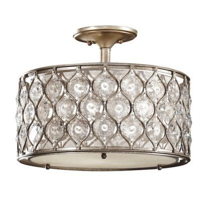 Ozdobny kryształowy plafon Bella - srebrny zdobiony