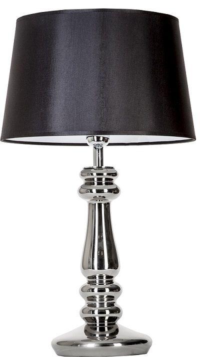 lampa stołowa ze srebrną podstawą i czarnym abażurem - aranżacja