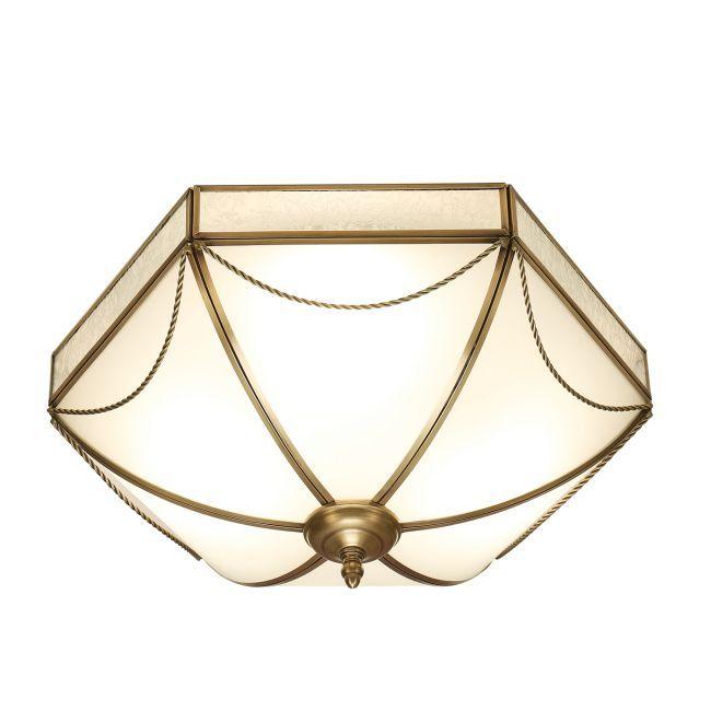 Plafon Russell - Interiors - mleczne szkło, mosiądz
