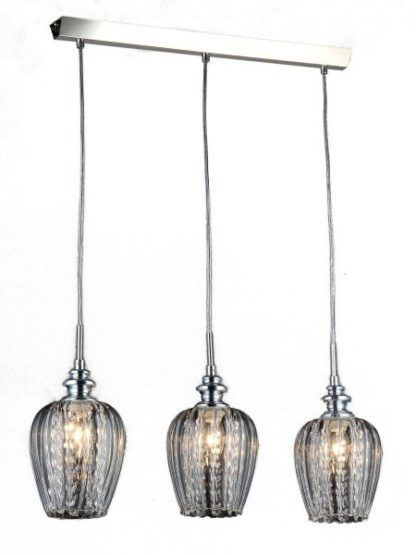 potrójna kryształowa lampa wiszaca srebrna