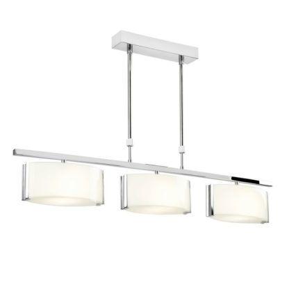 Podłużna lampa wisząca Clef - Endon Lighting - chrom, szkło