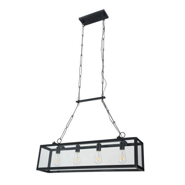 lampa wiszaca prostokątna szklana z czarnym - stal i szkło