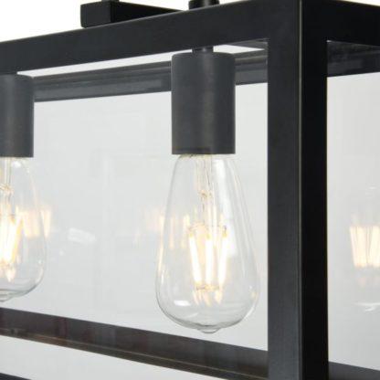 lampa sześcian szklana wisząca - czarna