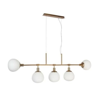 Podłużna lampa wisząca Erich - Maytoni - złota, biała