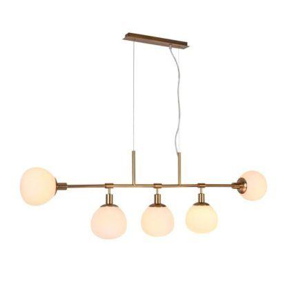 podłużna lampa wisząca z pięcioma szklanymi kulami