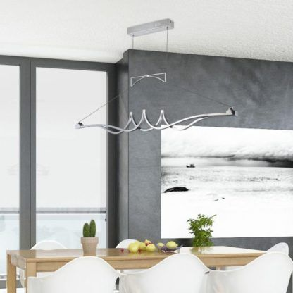 Podłużna lampa wisząca Wave - Maytoni - srebrna