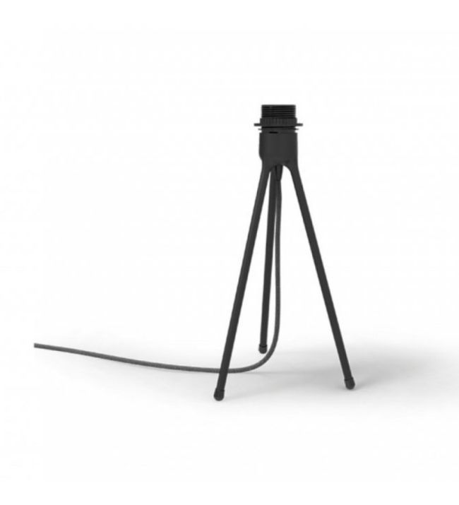 mała lampa stołowa - tripod w kolorze czarnym z białym kloszem
