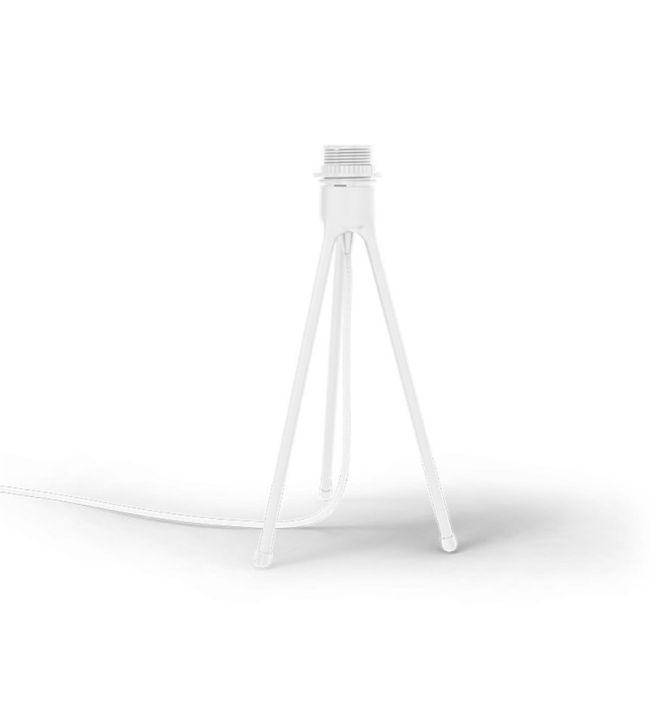 biały trójnóg stołowy z niebieskim kloszem
