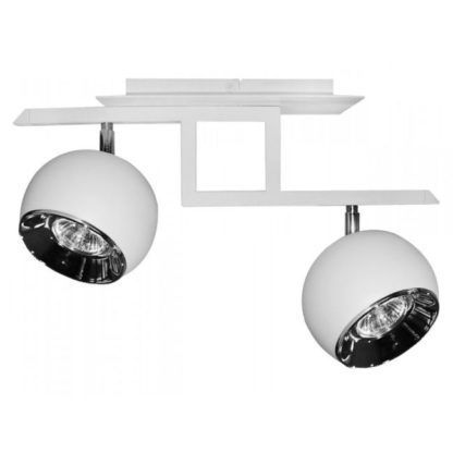 biała lampa sufitowa o ruchomych kloszach na różnych wysokościach
