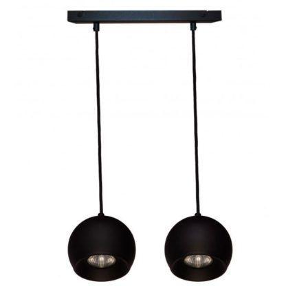 podłużna lampa wisząca na dwie żarówki w kolorze czarnym