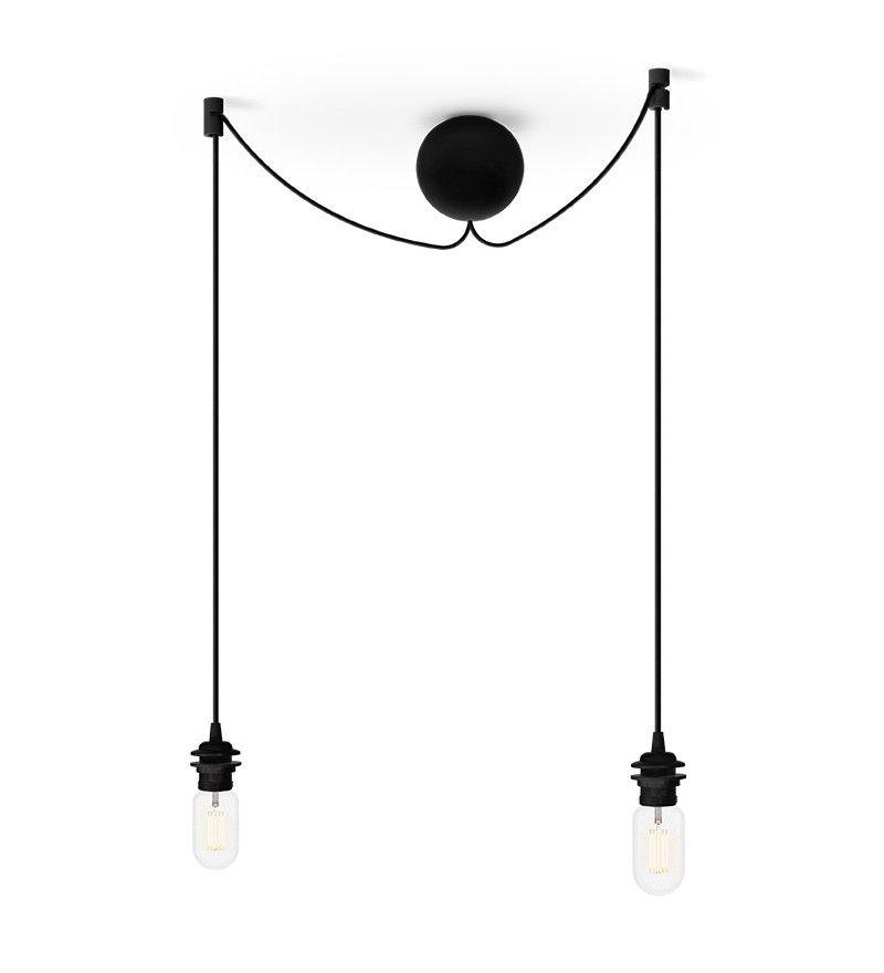 czarne minimalistyczne zawieszenie na dwie lampy Vita Copenhagen