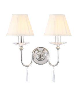 Podwójny kinkiet Clara - Ardant Decor- dekoracyjne kryształki, srebrny