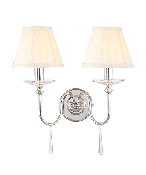 klasyczny kinkiet z dwoma ramionami, srebrna podstawa, chrom, kryształy