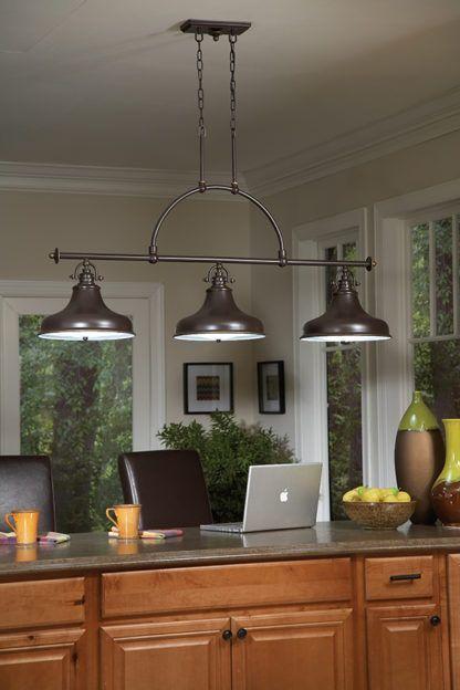 lampa metalowa z trzema kloszami w industrialnym stylu, ciemnobrązowy kolor - aranżacja