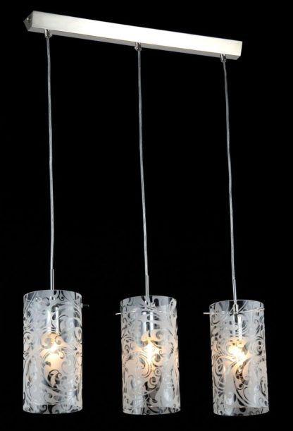 potrójna lampa wisząca szklana z grawerowanymi wzorami