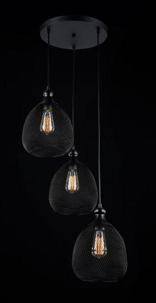 Potrójna lampa wisząca Grille - Maytoni - czarna siatka