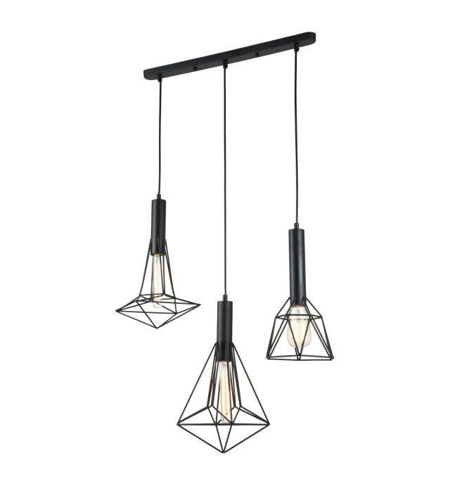 lampa wisząca trójkątna z czarnych drutów