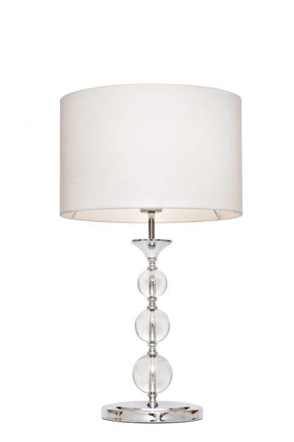 Lampa stołowa - Rea - Zuma Line - tkanina, szkło - biała
