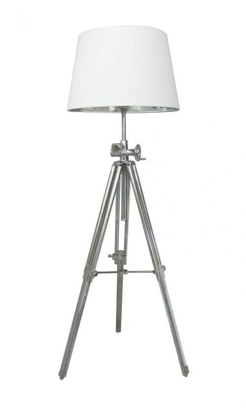 Lampa podłogowa - Seville - Zuma Line - metal - chrom, biała