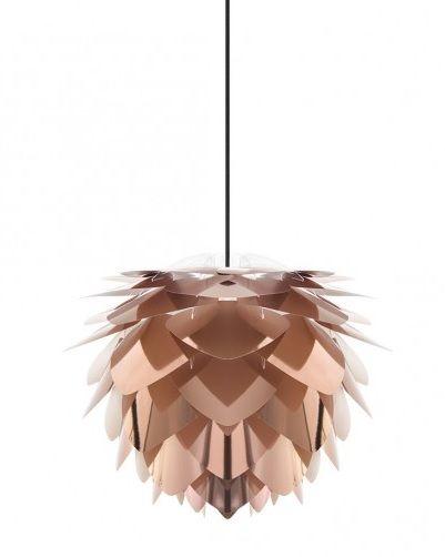 lampa wisząca z miedzianych płatków, kształt szyszki, styl nowoczesny