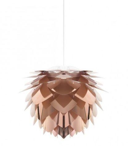miedziana lampa wisząca z płatków, styl skandynawski, nowoczesny