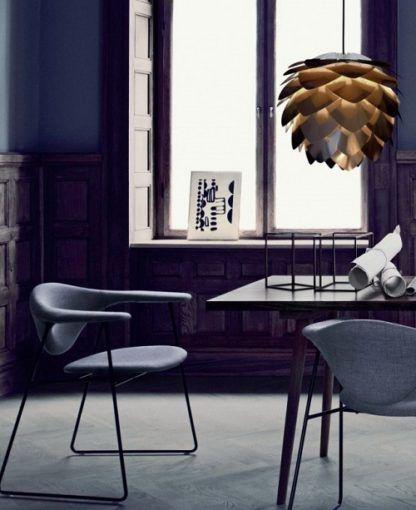 lampa w kształcie szyszki, miedziany kolor, nowoczesna - aranżacja
