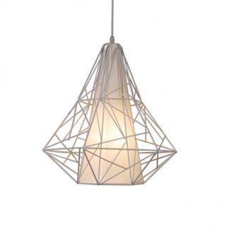 Lampa wisząca - Skeleton - Zuma Line - metal, plastik - biała