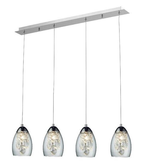 Lampa wisząca - Sofia 4 - Zuma Line - szkło, kryształ, chrom