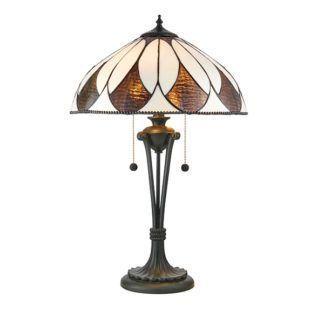 Szklana lampa stołowa Aragon - Interiors - brązowa podstawa