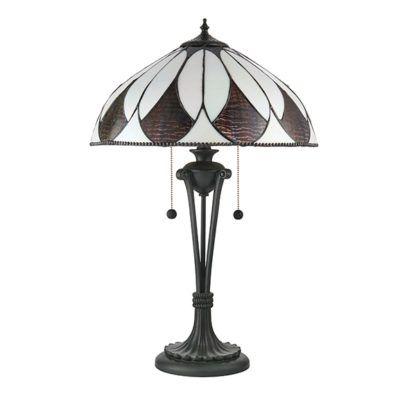 szklana lampa stołowa z zintegrowanymi włącznikami