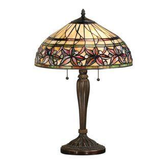 Szklana lampa stołowa Ashtead - Interiors - kwiecisty wzór