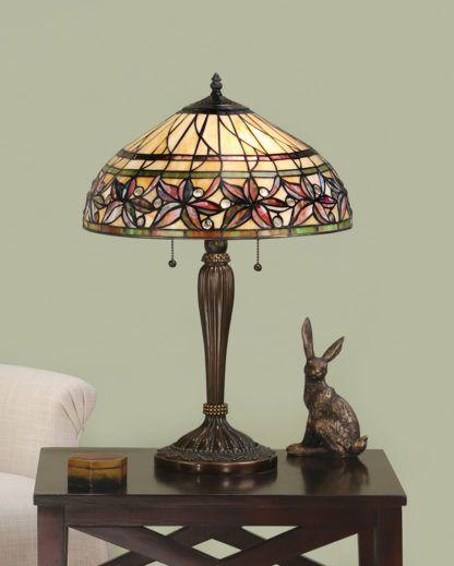 aranżacja - kolorowa lampa stołowa z brązowymi detalami