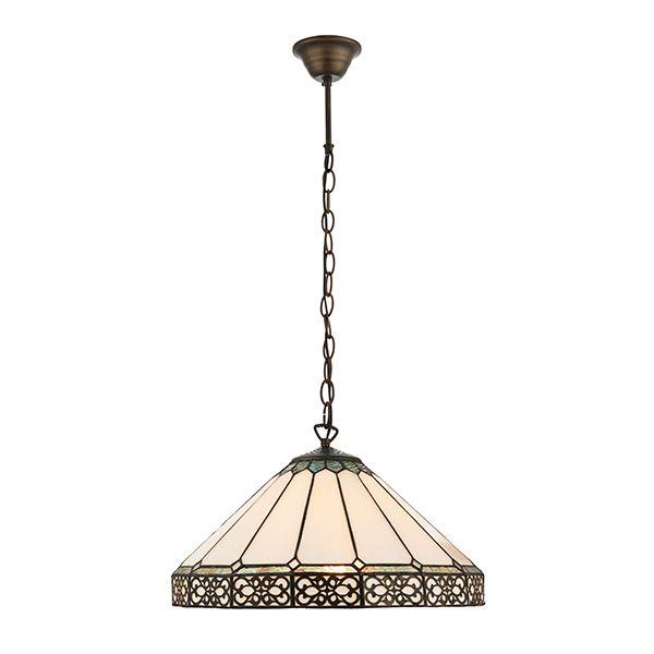 brązowa lampa wisząca ze szklanym witrażowym plafonem