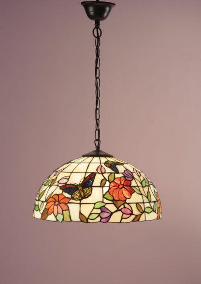 szklana lampa wisząca w pastelowych kolorach