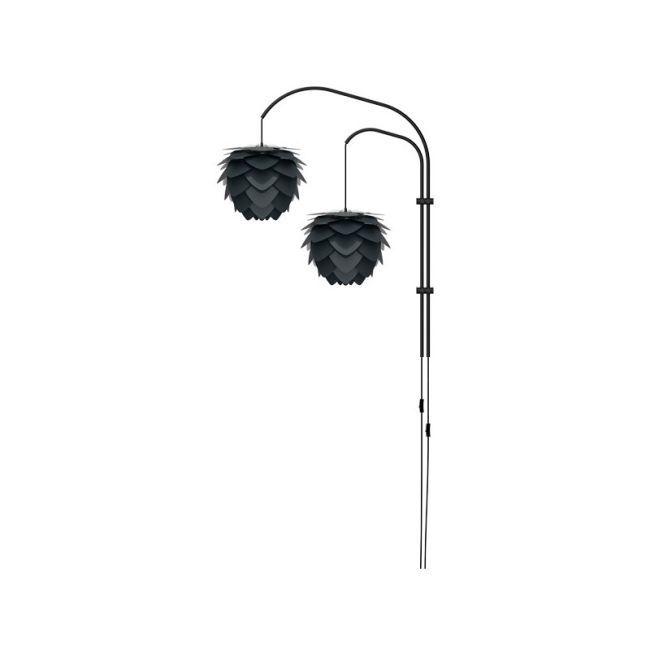 biała lampa ścienna z dwoma czarnymi kloszami w kształcie szyszek, styl nowoczesny
