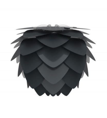 czarny klosz w kształcie szyszki, płatki mocowane na lampie, styl nowoczesny