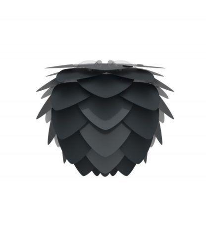 czarna lampa z kloszem w kształcie szyszki, styl skandynawski