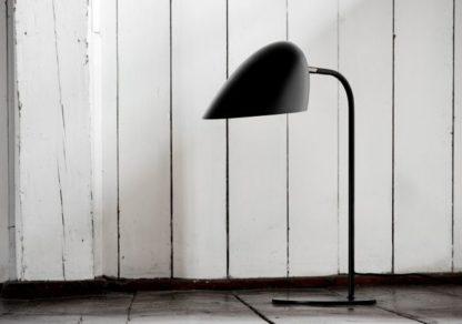 lampa biurkowa czarny mat, klosz biały w środku
