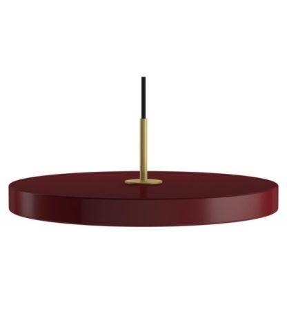 bordowa lampa wisząca nad stół, płaski klosz z panelem led, styl nowoczesny, lampa do jadalni i do kuchni